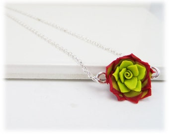 Tiny Red Succulent Necklace - Red Succulent Jewelry