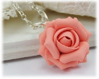 Dainty Coral Rose Necklace - Coral Rose Jewelry, Coral Flower Necklace