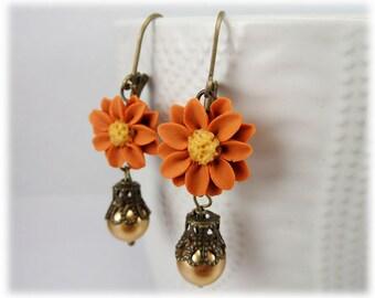 Orange Daisy Statement Earrings - Vintage Style Orange Flower Earrings, Orange Daisy Earrings, Burnt Orange Earrings, Vintage Style Earrings