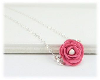 Tiny Camellia Necklace - Camellia Jewelry, Camellia Flower, Japanese Rose