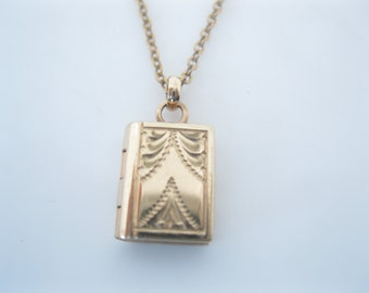Vintage tiny gold fill locket on baby chain