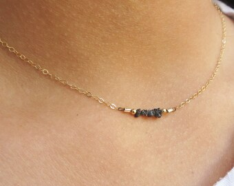 Rough Diamond Necklace, Dainty Necklace, Gold Necklace, Diamond Necklace, Bridesmaid Necklace, Bridesmaid Jewelry, Charm Necklace