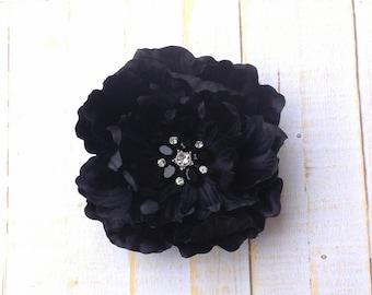 "Black Flower Clip 3.5"" Peony Hair Clip Black Rhinestone Flower Clip Wedding Bridesmaid Flower Girl Black Hair Clip Black Hair Flower Brooch"