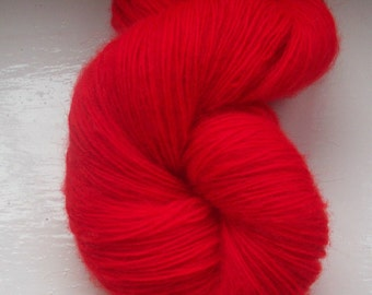 Lace weight yarn hand painted 100g. fine mohair bright scarlet red