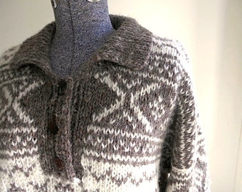 SALE Nordic wool pullover, ski sweater, hand knit Nepal Himalayan - L XL men women