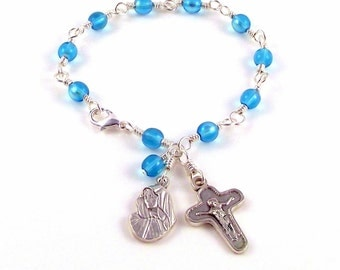 Virgin Mary Our Lady of Sorrow Rosary Bracelet In Aqua Blue AB Czech Glass  by Unbreakable Rosaries