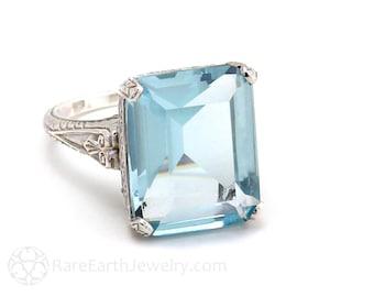 Antique Aquamarine Ring Filigree Vintage Art Nouveau 14K Gold March Birthstone Custom Bridal Jewelry