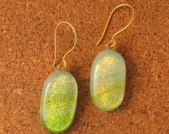 Green Dichroic Earrings - Fused Glass Earrings - Dichroic Jewelry - Fused Glass Jewelry - Glass Earrings - Glass Jewelry - Spring Earrings
