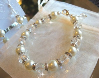 Swarovski Rhinestone Crystal and Pearl Bridal Bracelet and Earring Set - Bride or Bridesmaid Jewelry Set