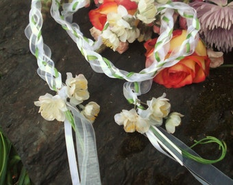 Wedding Handfasting Cord - White Apple Blossoms Green Vine SIMPLE no Beads