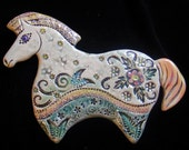 Ceramic Horse wall hanging for home or garden