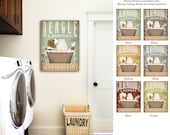 Beagle dog Laundry Company basket illustration graphic art on canvas by stephen fowler