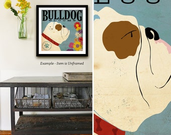 English bulldog dog flower Company giclee flower print signed by artist Stephen Fowler Pick A Size