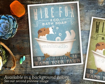 Wire Fox Terrier dog bath soap Company vintage style artwork by Stephen Fowler Giclee Signed Print