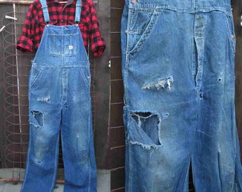 50s Blue Denim Vintage Overalls Pay Day Penney's overalls  Distressed worn vintage denim holes patches overalls 50s vintage workwear L  36 W