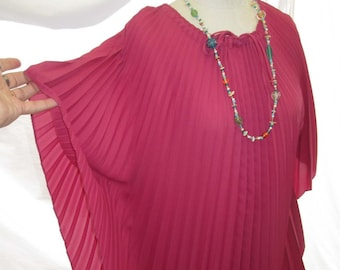 Pink Wine 80s Vintage Caftan Perma Pleats 80s long Kaftan dress pleated vintage Caftan  Angel Sleeves Pink Boho Long Dress S M