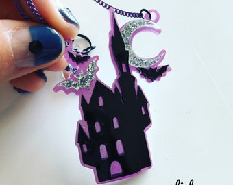 MAGIC CASTTLE laser cut acrylic necklace