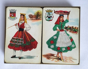 Vintage Boxed Set of 2 Decks of Olympia Playing Cards - Gorgeous Images of Greek Fashion and Motifs