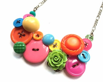 Bright Colorful Garden Vintage Buttons Necklace - Pink, Orange, Yellow, Lime, Blue