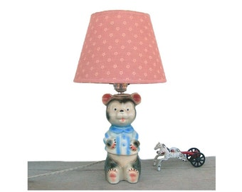 Bear Nursery Lamp, Vintage 1950s Ceramic Black and White Bear Light, Blue Jacket, Baby or Childs Room Home Decor, 10 inch Table Lamp, Works
