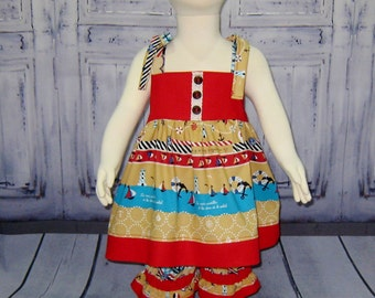 Girl Tunic and Pantaloons Outfit, Nautical Girl Outfit,  Girl Red Outfit, Beach Photoshoot Top and Pant Outfit, Summer Outfit, Beach Day set