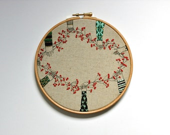 embroidery art wall hanging - The Chain II
