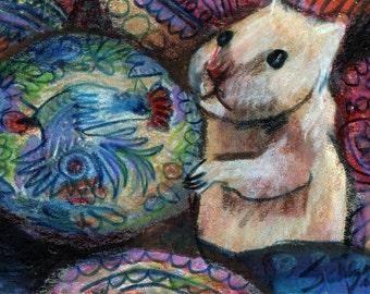 original aceo art color  pencil drawing hamster Ukrainian eggs