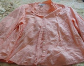 Orange Sag Harbor Floral Embroidered Button up Blouse