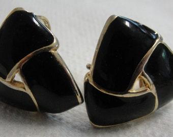 Black Enamel Clip Earrings