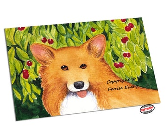 Welsh Corgi Art Print Pembroke Corgi Cherries Cherry Corgi Print Corgi Lover Corgi Gift Home Decor Corgi Print Corgi Artwork by Denise Every