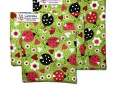 3 Sizes VALENTINES Hearts and Ladybugs Re-Usable Lunchkins Snack Bags FREESHIP Canada Nylon Lining and Velcro or Zipper  Closure