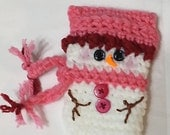 Set of Snowman Gift Card Holders, Crochet Snowman Ornaments Made to Order, choose 4 or 6