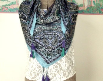 Vintage Silk Scarf Square Shawl Blue Lavender Turquoise Stain Glass Window Tassels