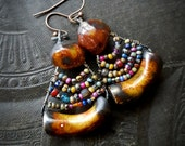 Porcelain, Wire Work, Rustic, Hoops, Clay, Tribal, Primitive, Old World Glass, Wire Wrapped, Organic, Beaded Earrings