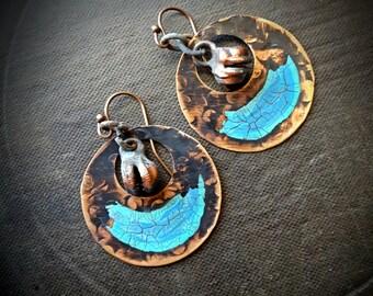 Copper Hoops, Hand Painted, Rustic, Southwest,Bohemian, Gypsy, Organic, Beaded Earrings