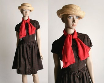 ON SALE Vintage 1960s Lanz Dress - Chocolate Brown Plaid Cotton Shirtwaist Dress with Red Silk Pussy Bow - Small