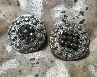 Antique Faceted Cut Steel Buttons, Two (2) ... Stars and Diamond & Dot Ditty Pressed Borders with Cut Steel Clusters, Vintage