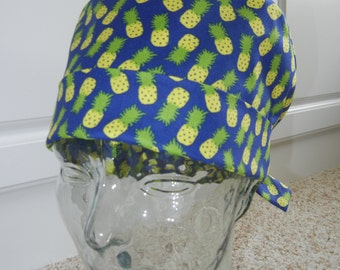 Tie Back Surgical Scrub Hat with Pineapples