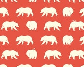 ORGANIC fabric, Bear Camp by Birch Fabrics- Bear Camp in Coral, Coral fabric, Bear fabric, Animal fabric, Nursery, Choose your cut