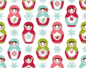 SALE fabric, Christmas Fabric, Merry Matryoshka Cotton Fabric, Doll Fabric, by Riley Blake - Matryoshka in White, Choose the Cut