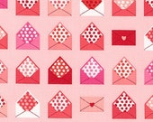 SALE fabric, Pink fabric, Novelty fabric, Sealed With a Kiss, Robert Kaufman, Heart fabric, Kids fabric, Envelopes Sweet- Choose the cut