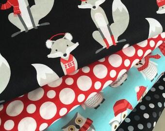 Fox fabric, Red fabric, Nursery fabric, Owl fabric, Childrens fabric, Winter, Polar Pals by Robert Kaufman, Bundle of 4- Choose the Cut
