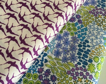 Bird fabric, Floral fabric, Nursery fabric, Purple fabric, Art Gallery fabrics, Modern fabric, Soft fabric, Bundle of 2- Choose the Cut