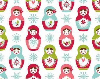 SALE fabric, Christmas Fabric, Merry Matryoshka Cotton Fabric, Doll Fabric, by Riley Blake - Matryoshka in White, Choose the Cut