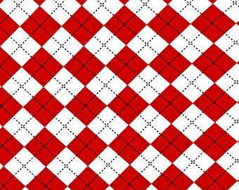 Red Plaid Fabric, Remix fabric, Geometric fabric, Argyle fabric, Ann Kelle for Robert Kaufman, Cotton fabric by the yard, Red fabric