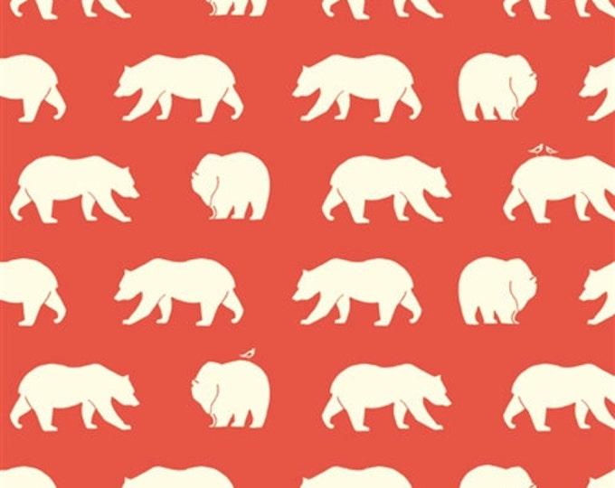 ORGANIC fabric, Bear Camp by Birch Fabrics- Bear Camp in Coral, Coral fabric, Bear fabric, Animal fabric, Nursery, Choose your cut