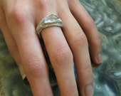 Little Bird twig ring with faceted kunzite size 7 eco recycled fine silver