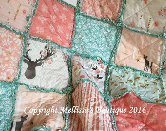 Custom Rustic Shabby Chic Mint/Aqua & Coral Blush with Gold Metallic Fawn/Deer Baby/Travel Rag Quilt MADE to ORDER
