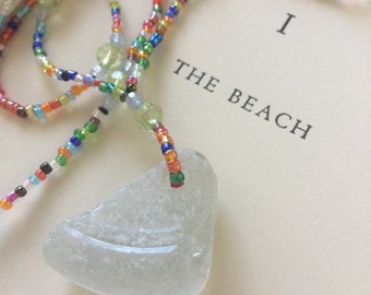 MADE FOR FUN... a sweet necklace, glass beads, good luck memories, seaglass glass beads rainbow