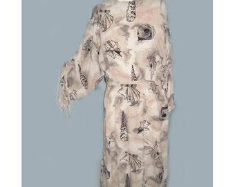Rare Vintage 1940's Designer B.H. Wragge Shell Print Dress